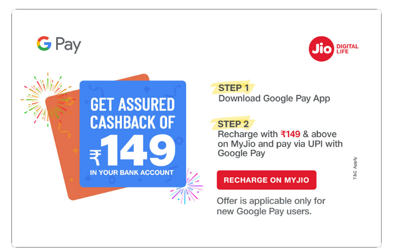 google pay and jio recharge offer