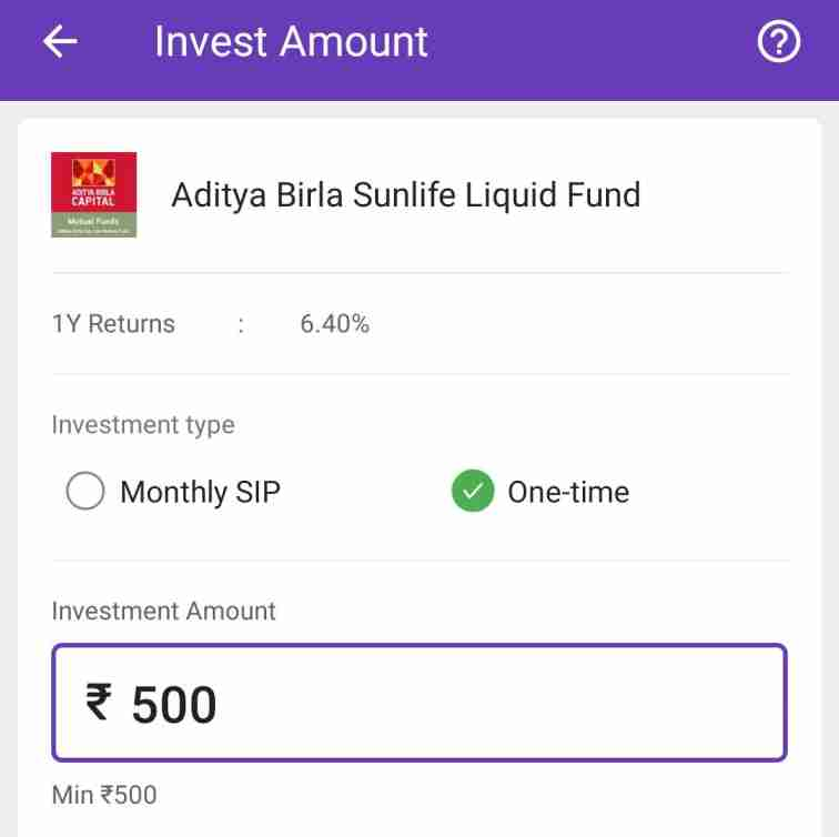 one time invest in phonepe liquid fund