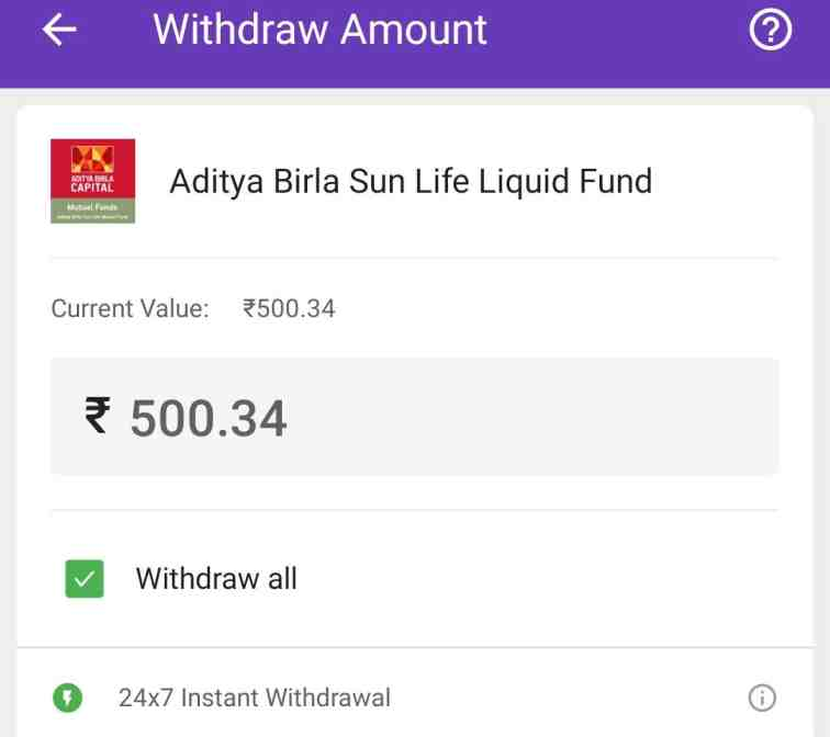 phonepe liquid fund withdrawal process