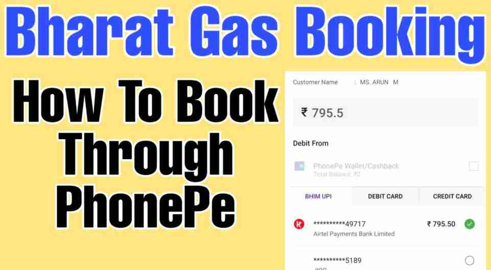 bharat gas booking phonepe
