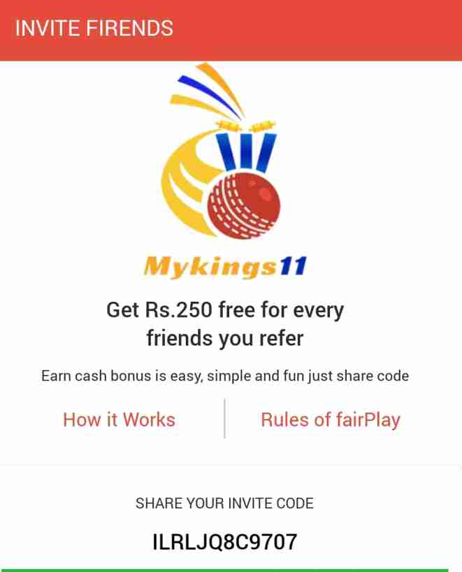 MyKings11-Fantasy-Cricket-App-Refer-and-Earn-offer
