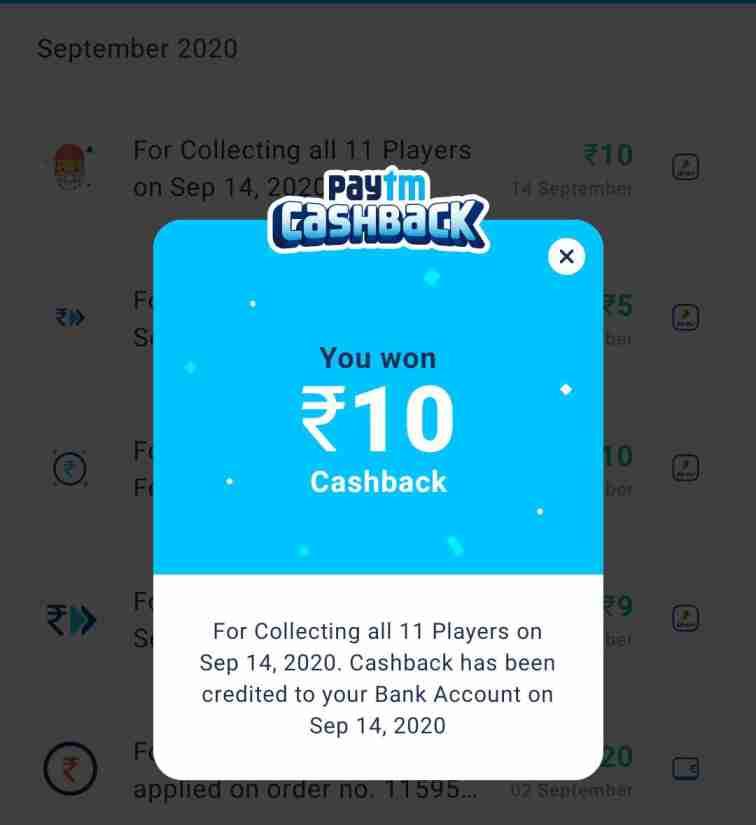 paytm cricket league cashback proof