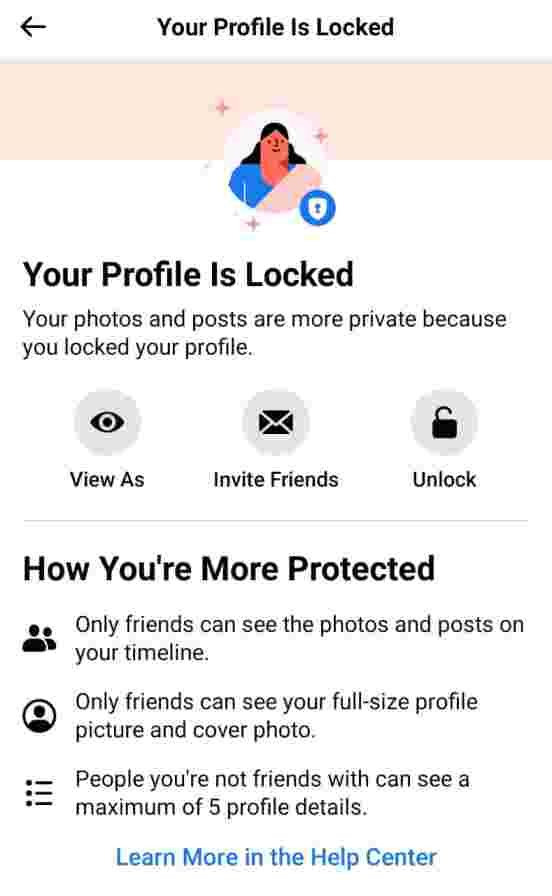 how to lock facebook profile on android