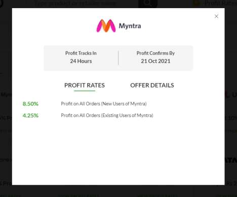 EarnKaro Myntra Affiliate Commission Structure