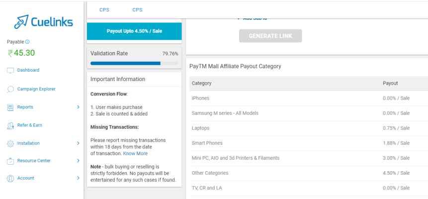 paytm affiliate register through cuelinks