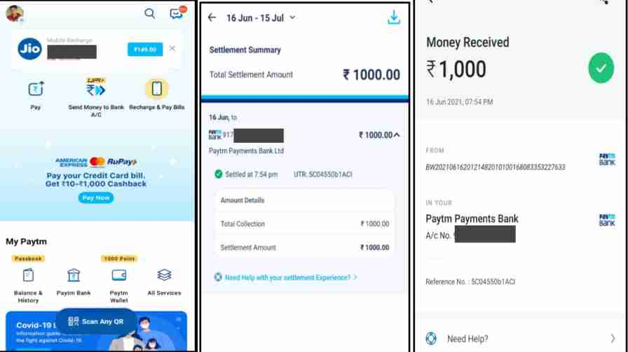 paytm wallet to bank account transper process