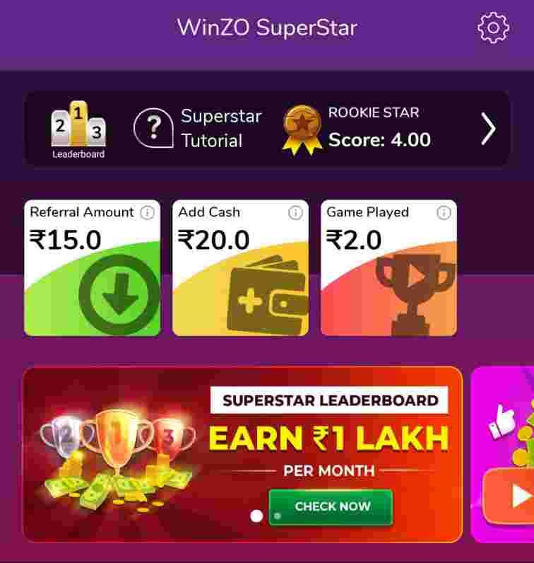 winzo superstar money earning game
